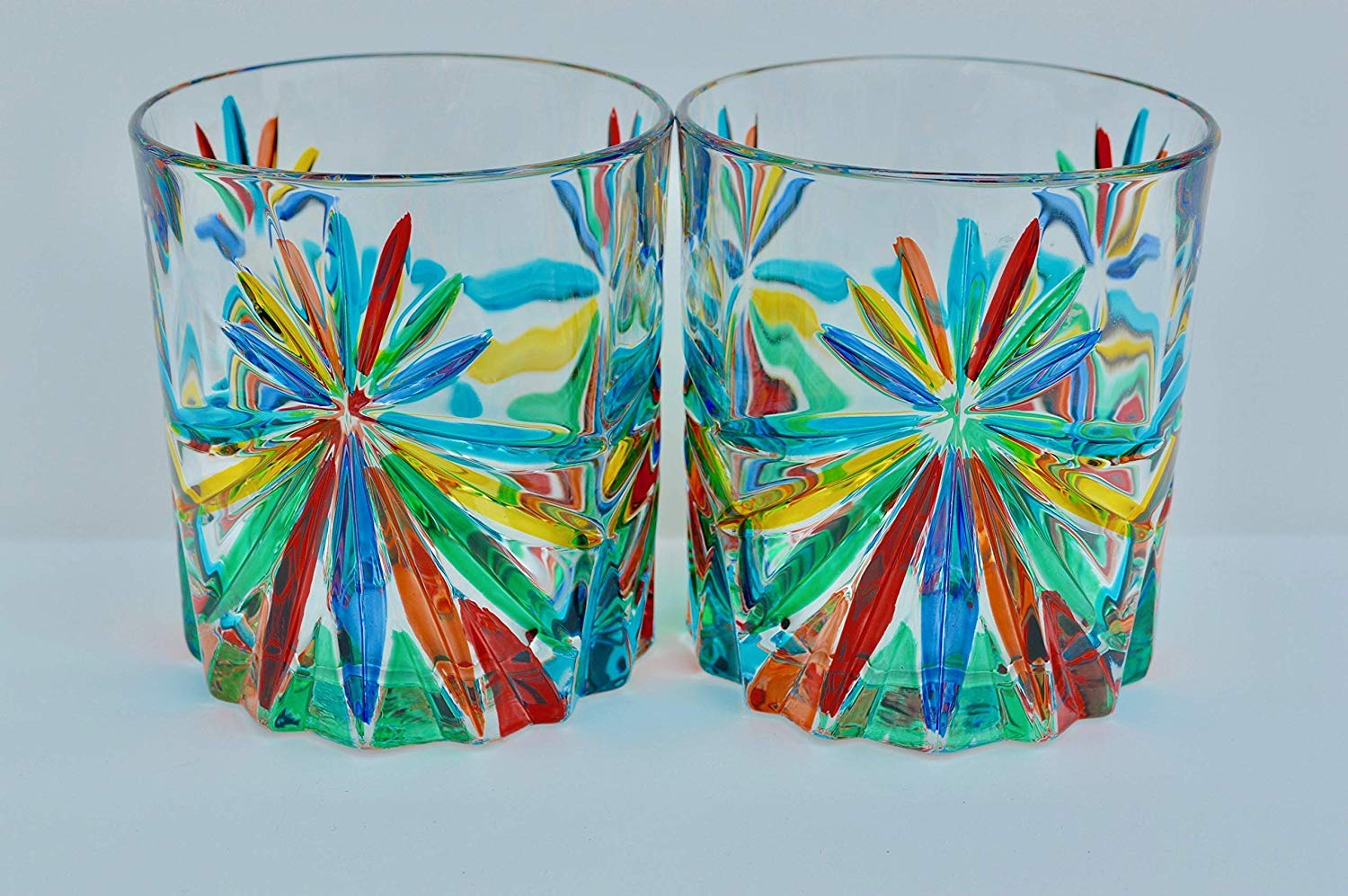 Murano Glass Highball Glasses, Starburst, Set of 2 - Hand Made In Italy