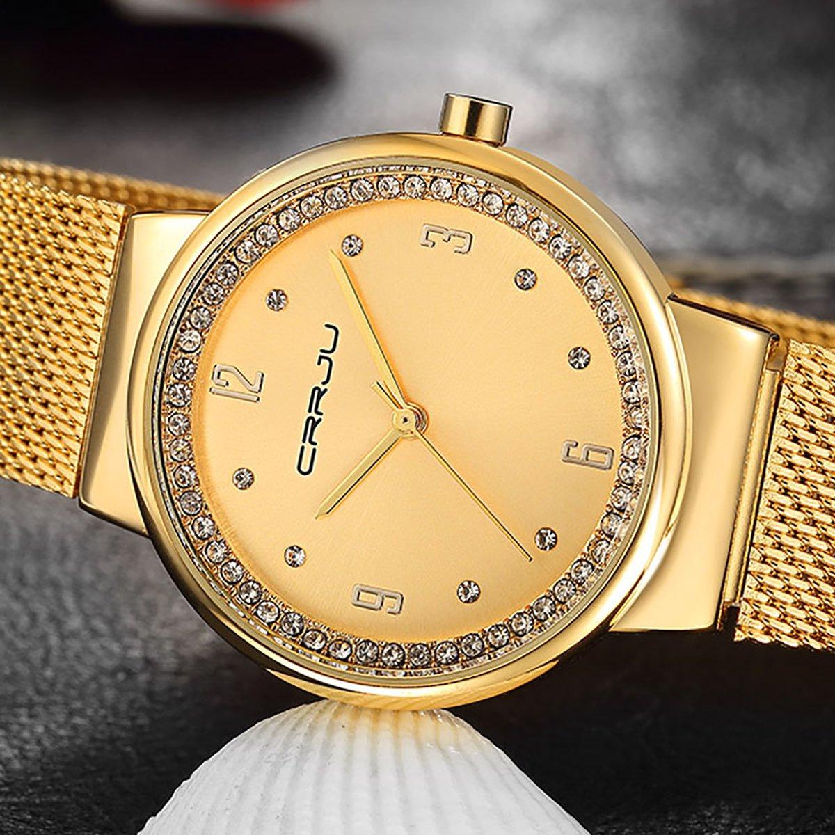 Damen-Armbanduhr von Modiwen, rautenförmiges Stahlgeflecht, mit Quarz-Uhrwerk, Freizeituhr mit Armband gold