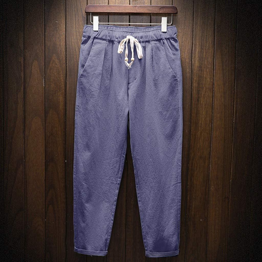 Pantalones Casuales Hombre, Pantalones Largos De Lino Sueltos ...