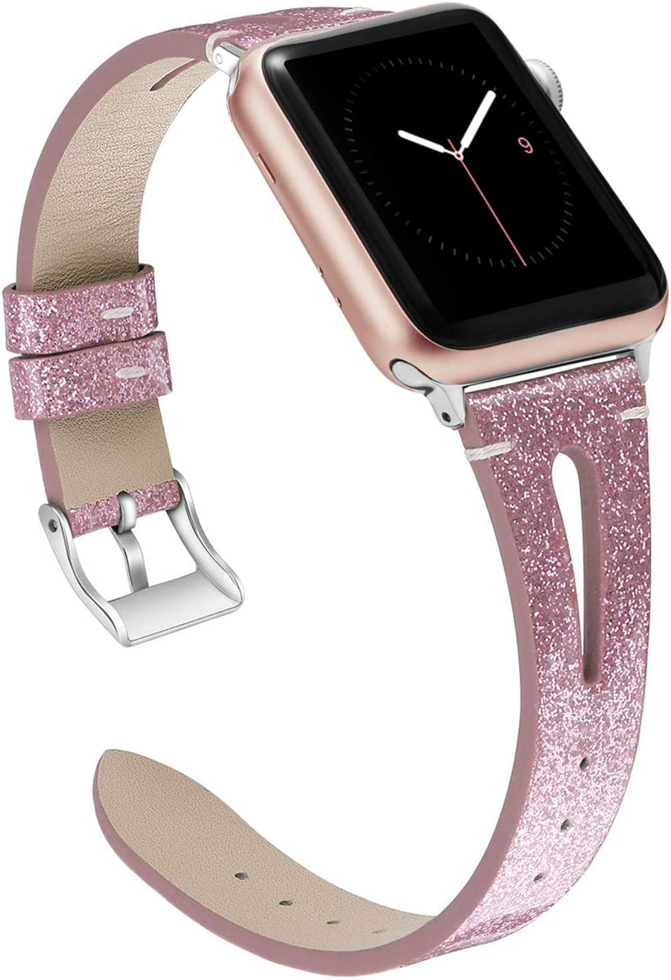 Wearlizer Leather Bands Compatible with Apple Watch Glitter Straps 38mm 40mm for iWatch SE Womens Bling Wristband Triangle Hole Replacement (Metal Silver Buckle) Series 6 5 4 3 2 1 Sport-Purple