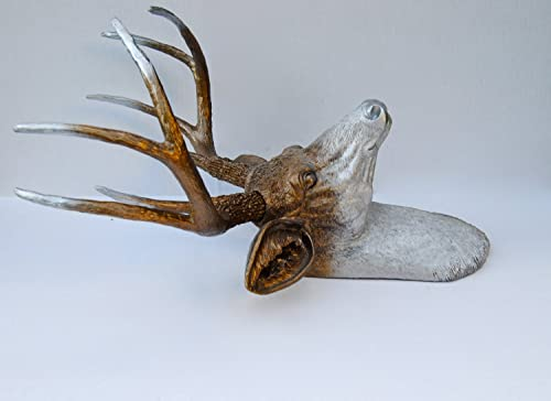 Near and Deer 8 Point Faux Taxidermy Deer Head – Rustic Luxurious Stag – Silver Fades to Bronze Ombre