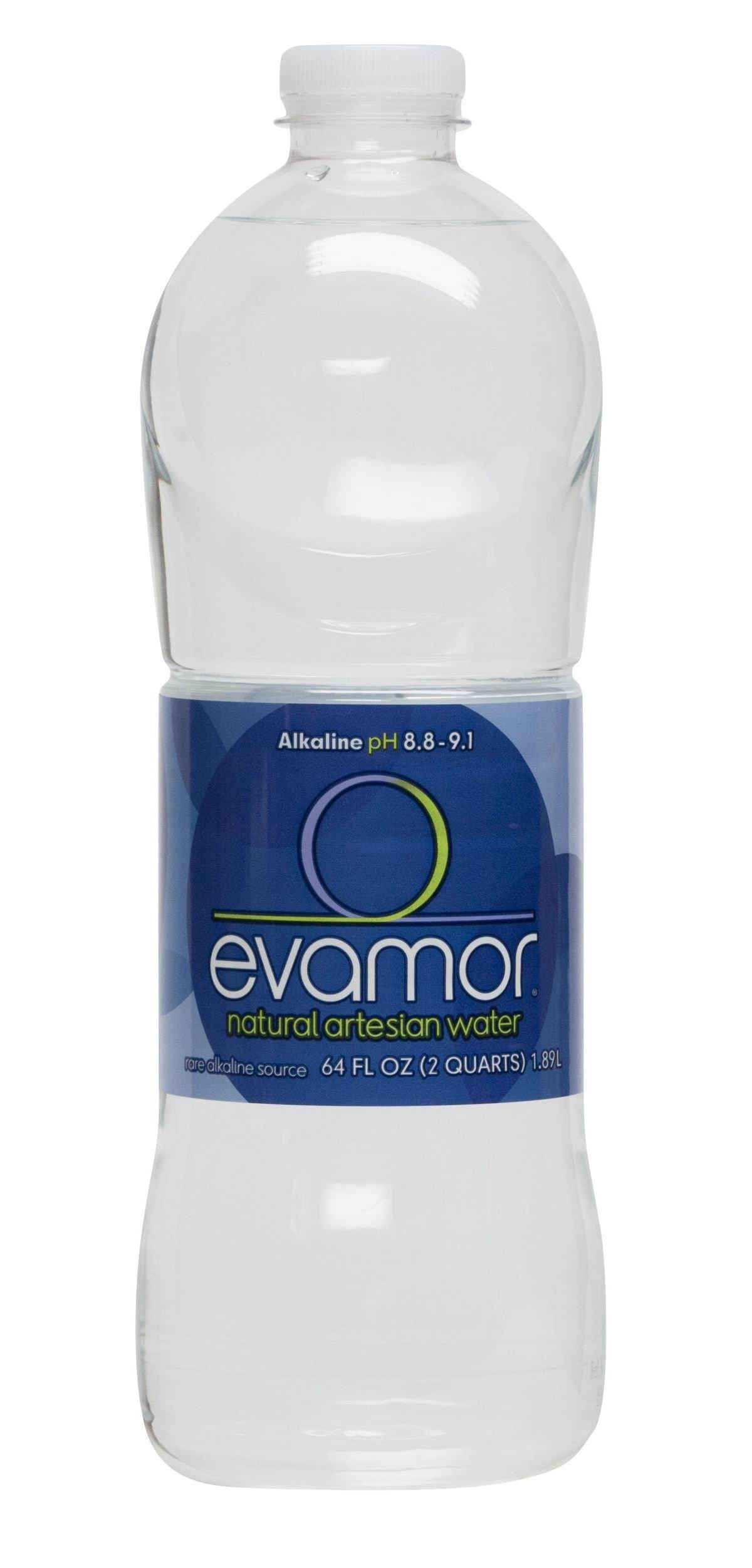 Evamor Natural Alkaline Artesian Water, 64-Ounce (Pack of 6)