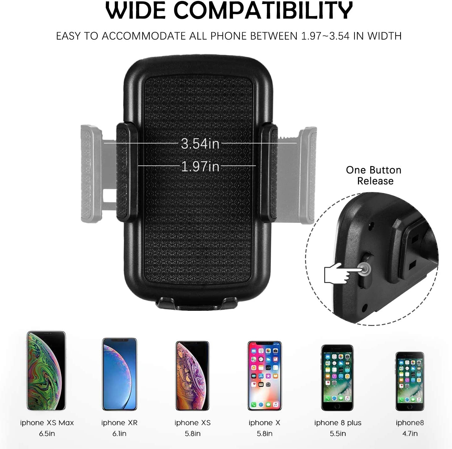 Galaxy S7//S8//S9 Huawei and More Google Nexus miadore Universal Car Cup Holder Phone Mount Cradle Compatible for iPhone Xs//XS MAX//XR//X//8//8Plus//7//7Plus