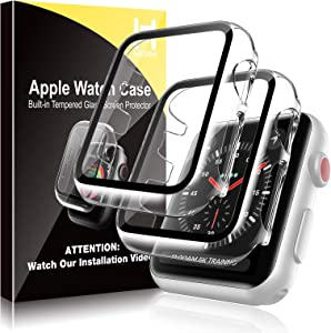 [2 Pack] HATOSHI Hard Case for Apple Watch 42mm Series 3/2/1 Built-in Tempered Glass Screen Protector, Ultra-Thin All Around Protective Glass Screen Cover for iWatch 42mm (Clear)