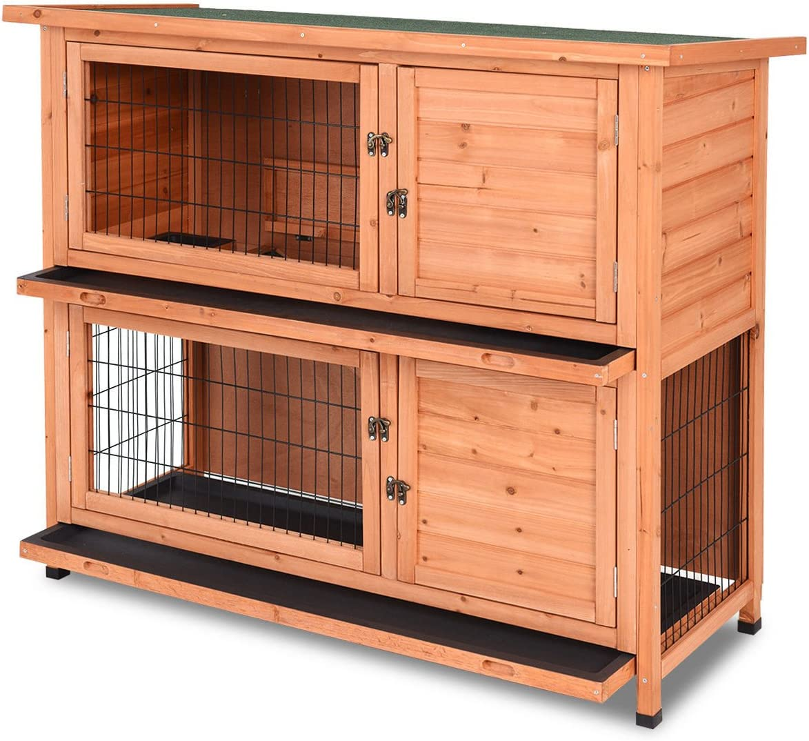 Tangkula Chicken Coop 8 Rabbit Hutch Wooden Garden Backyard Bunny ...