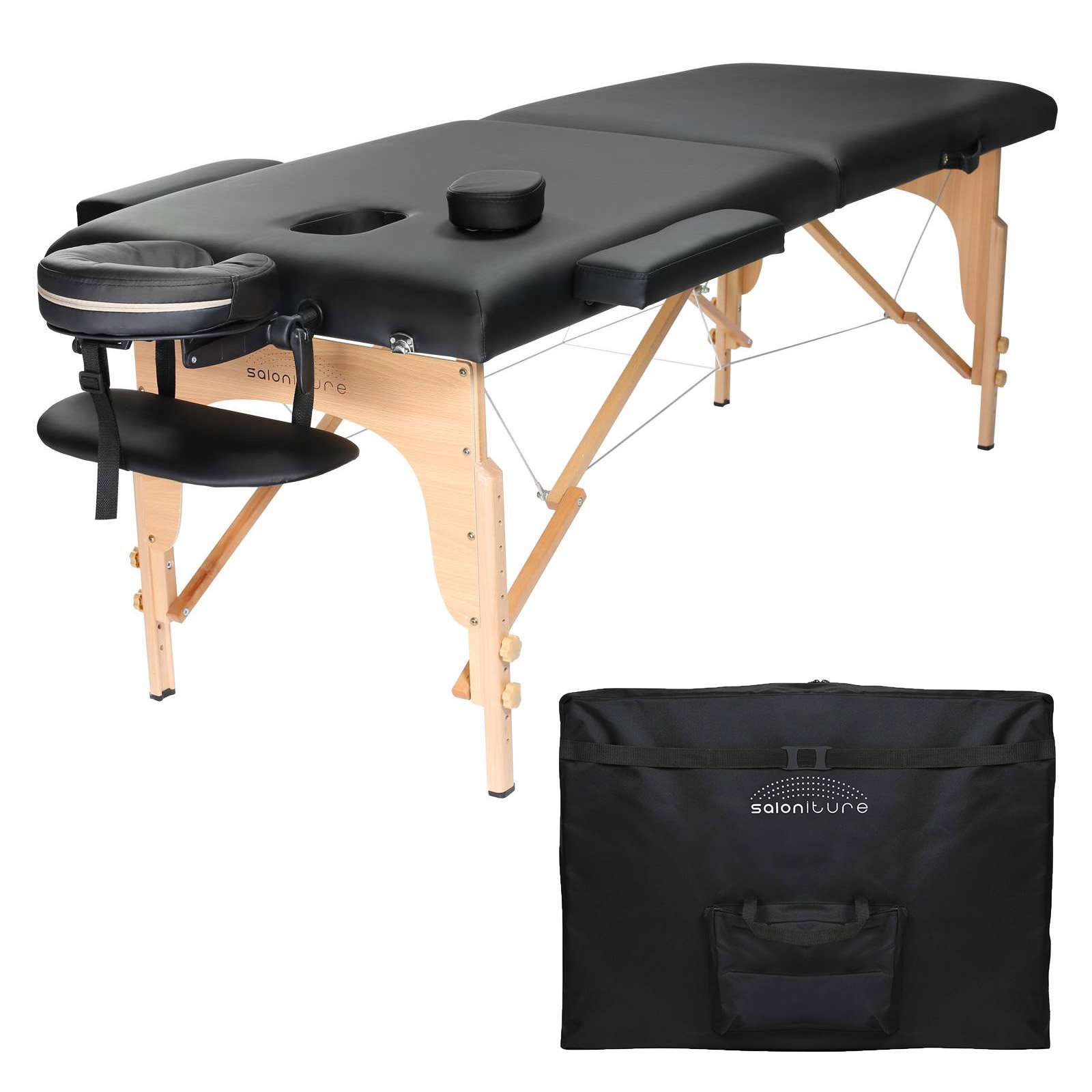 Saloniture Professional Portable Folding Massage Table with Carrying Case - Black by Saloniture