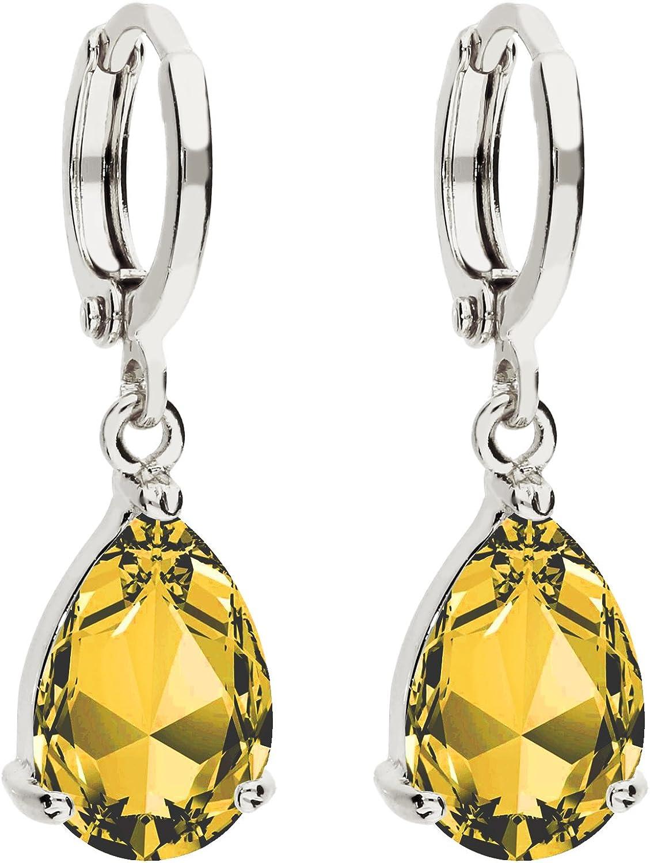 Mya tipo Mujer Pendientes de aro pendientes colgante pendientes de gota de piedra ovalada con circonita colgante plata citrino amarillo chapado en oro myawg de oído de 73