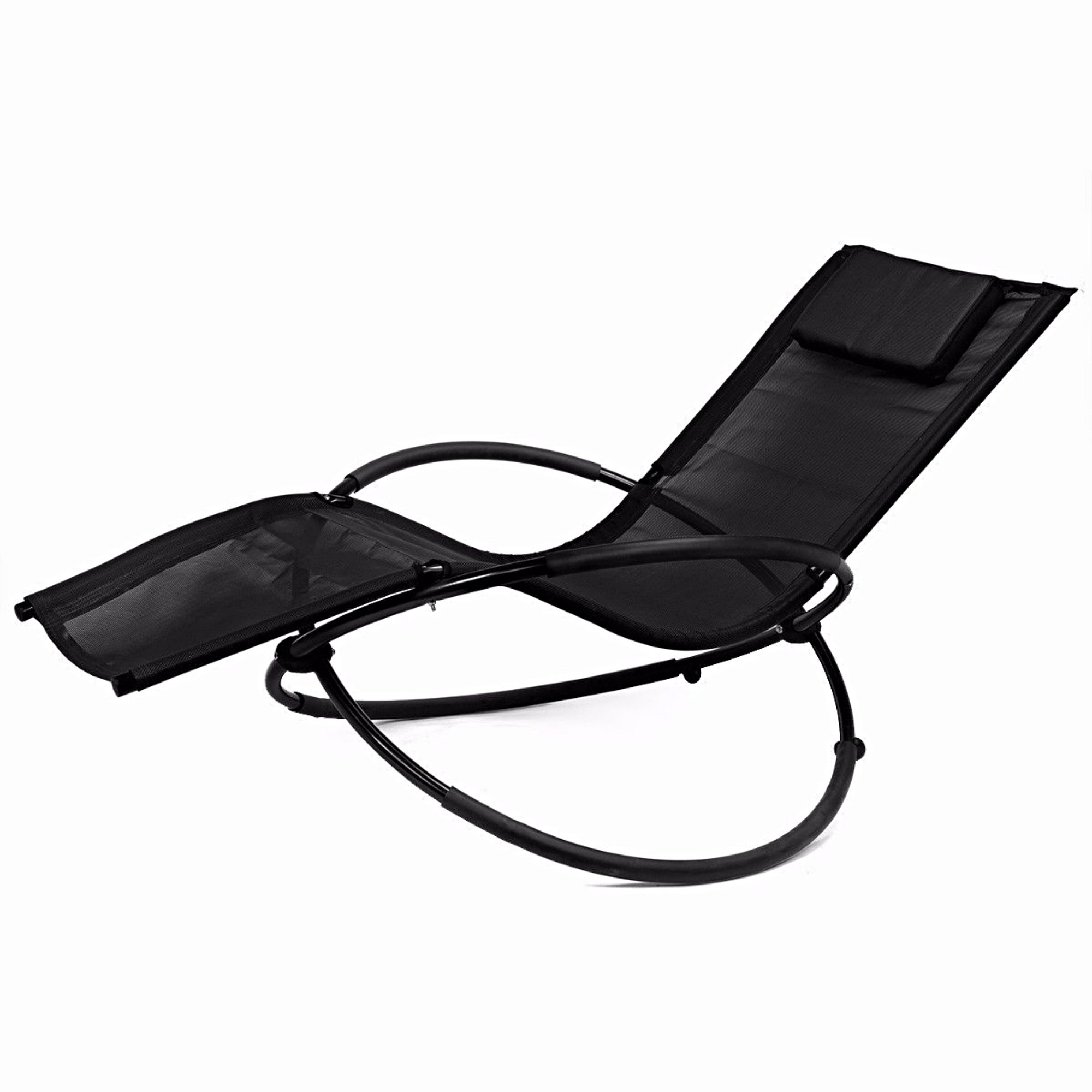 Zero Gravity Folding Orbit Chair Patio Lounger Reclining Rocking Relax Outdoor Black #230