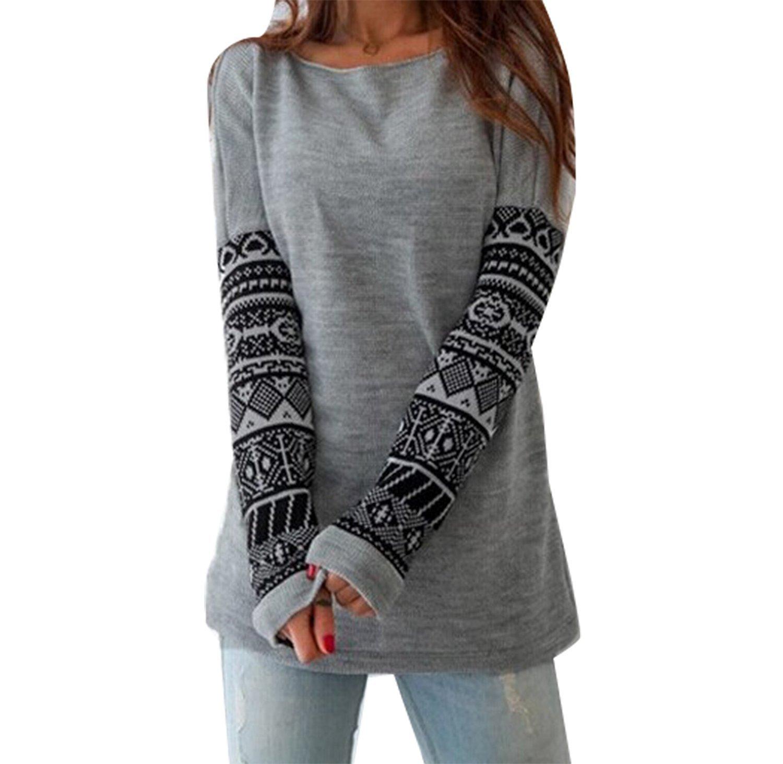 Minetom Donna Moda T-shirt Stampa Geometrica Manica Lunga Allentata Casuale Camicetta Maglietta