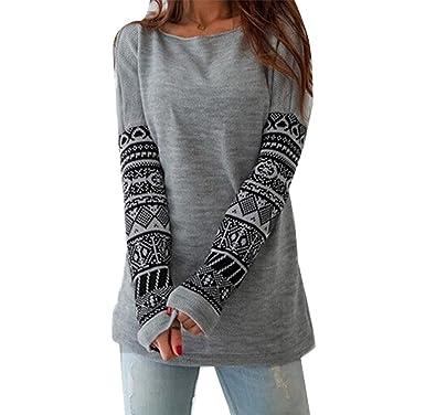 Minetom Femmes L automne Col Rond Impression Vest Manche Longue Casual Pull  Tricots Shirt  Amazon.fr  Vêtements et accessoires f1814a55211