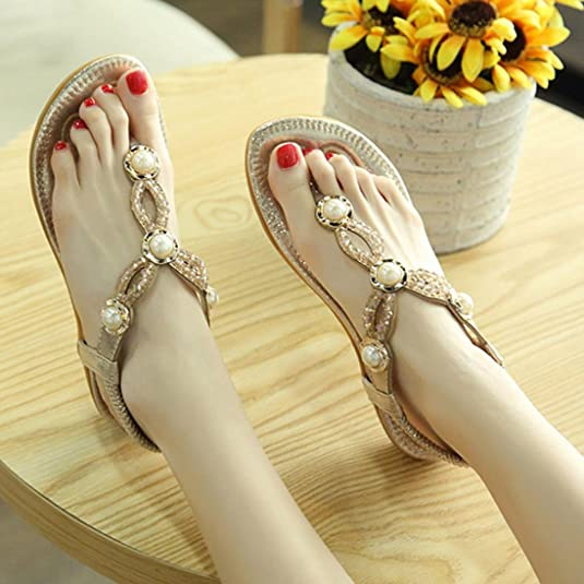 c47c4b24f66ba7 Lolittas Gold Leather Flip Flops Women Ladies ,Beach Boho Diamante Jewelled  Beaded Pearl Personalised Smart Thin Thong Sandal Slippers Shoes Size 2-8   ...
