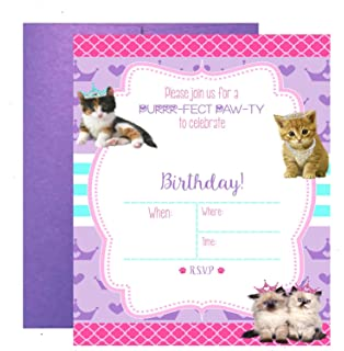 Amazon kitty cat birthday party invitations fill in style glam kitty cat pet adoption party supply theme invitations filmwisefo Image collections