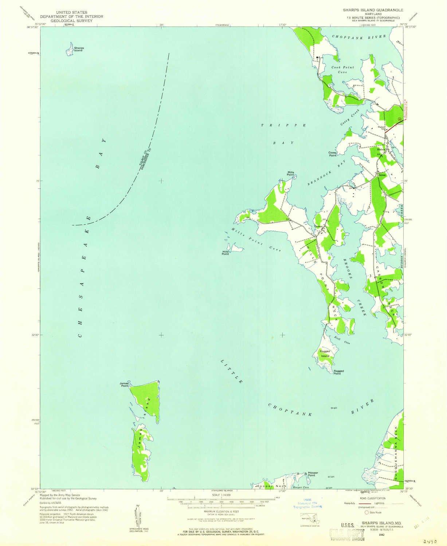 Amazon.com: YellowMaps Sharps Island MD topo map, 1:24000 Scale, 7.5 ...