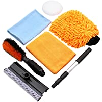 Car Cleaning Tool Kit by Scrub it- squeegee Car Wash Brush, Wheel Brush, microfiber wash mitt and cloth - For Your Next…
