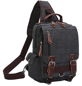31c8345fb9d8 Berchirly One Strap Sling Canvas Cross Body 13.3-inch Laptop Messenger Bag  Travel Shoulder Backpack