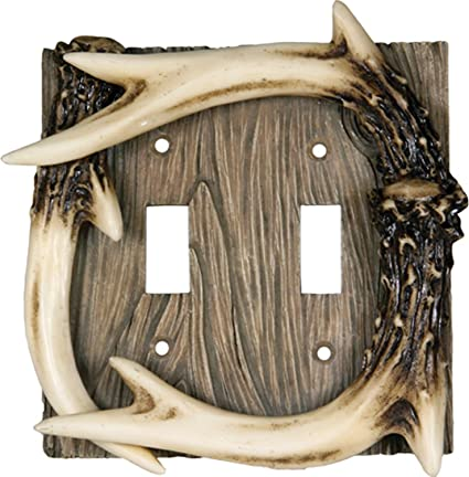 Rivers Edge Deer Antler Double Switch Cover Electrical Plate NEW Polyresin 2008