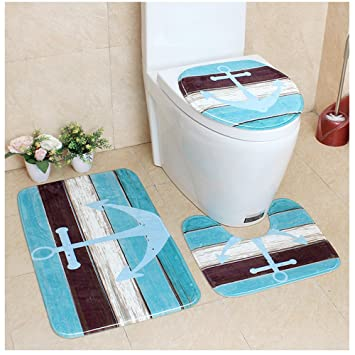 WCHUANG Bathroom Rugs Set Sea Anchor Bath Mats Kitchen Home Doormat, Set Of  3,