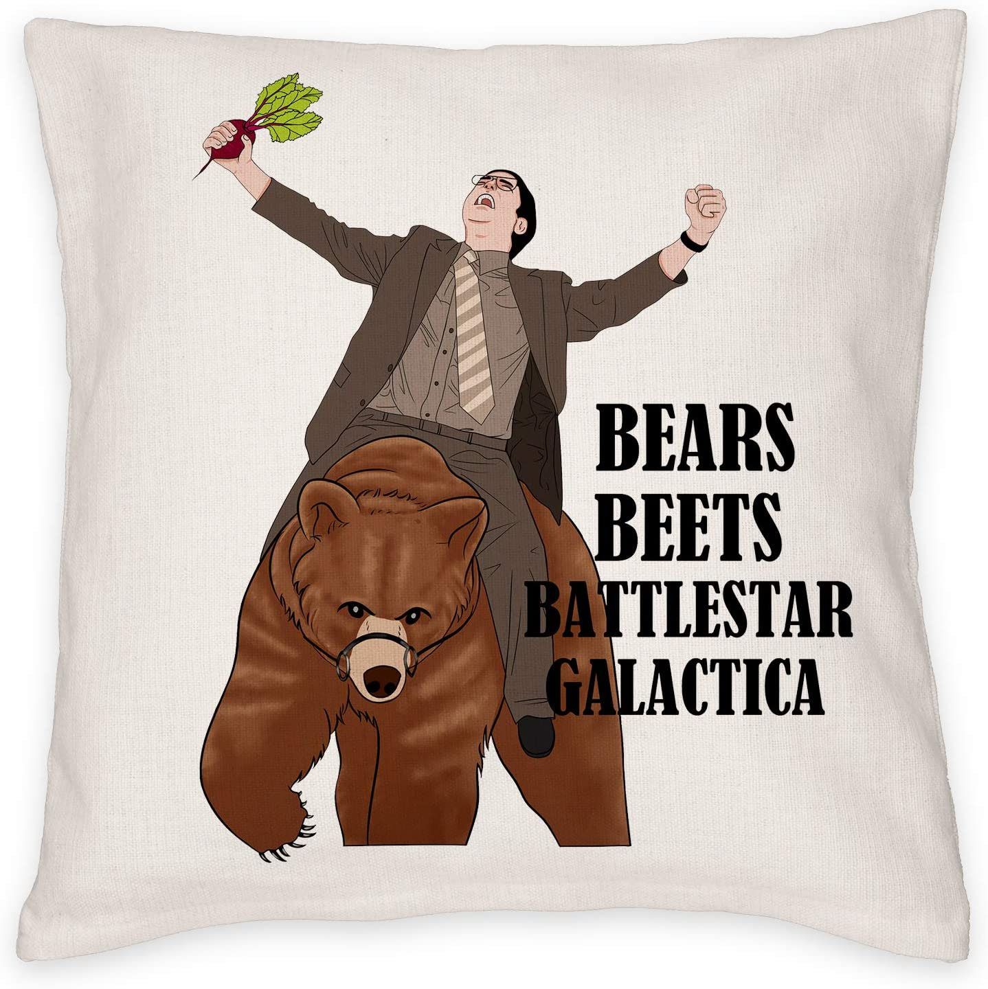 MTWXH Throw Pillow Case, The Office Bears Beets Battlestar Galactica 18x18 Inch Decorate Pillow Cover, The Office Merchandise Cushion Cover for Home Decor, Decoration Gifts for TV Show Fans