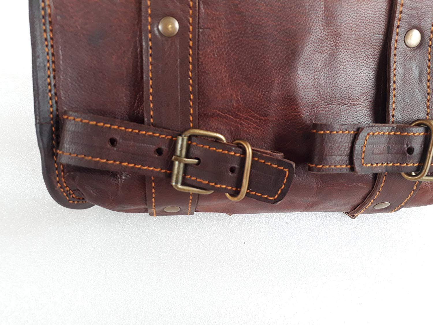 Sissy Bar-10 Inch Handmade Vintage Motorcycle Genuine Goat Leather 2 Strap Buckle Closure Tool Brown Bag Quick Release Clasp REINFORCED for handlebars,Forks