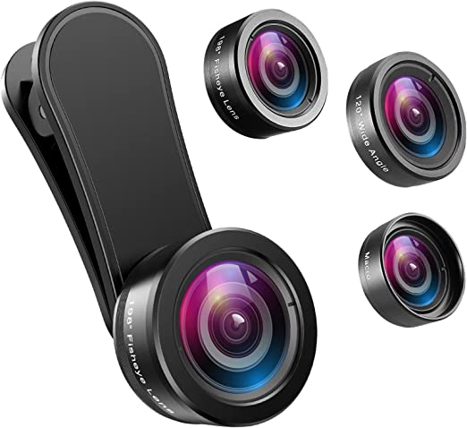 Amazon Com Amir Phone Camera Lens 198 Fisheye Lens 120 Super Wide Angle Lens 20x Macro Lens For Tik Tok Vlog Video Clip On Phone Lens For Iphone 11 11 Pro X Xs Xr