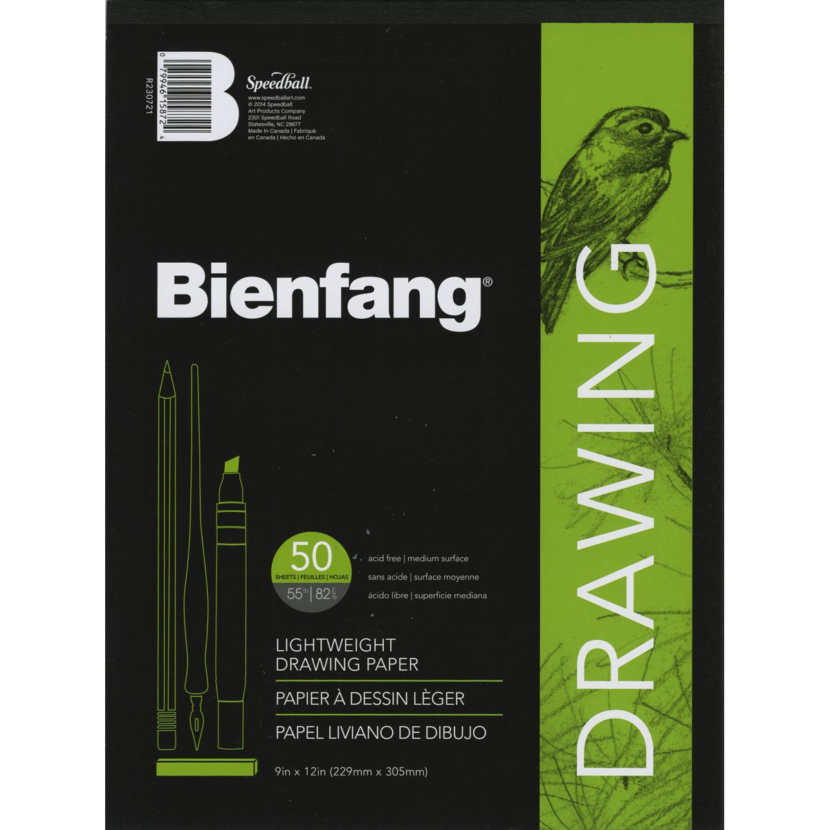 50 Sheets Speedball Art Products Bienfang Giant 9-Inch by 12-Inch Drawing Paper Pad