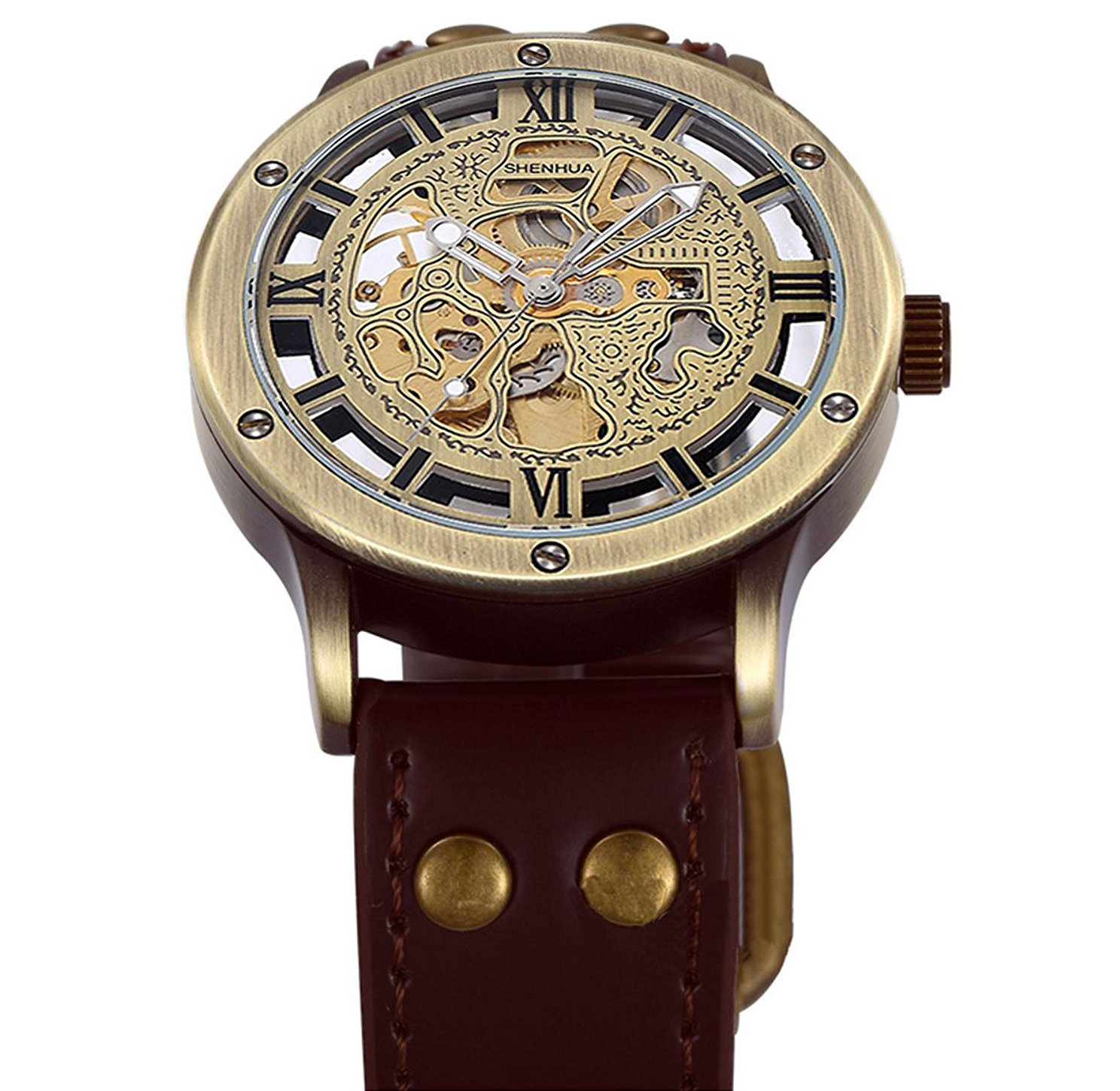 Carrie Hughes Men's Steampunk Skeleton Automatic Mechanical Alloy Stainless Steel Leather Watch CH86 4
