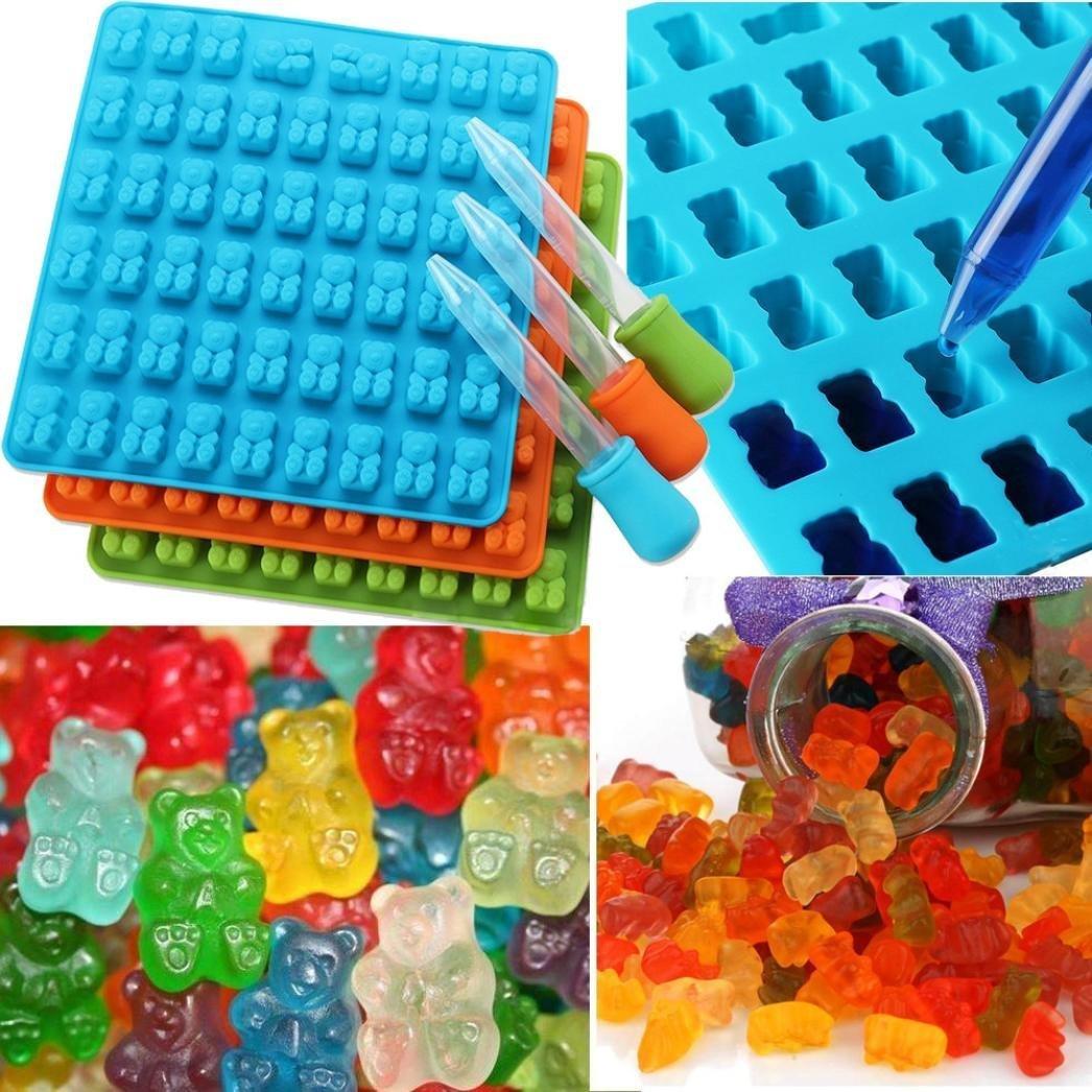 Hunpta 53 Cavity Silicone Gummy Bear Shape Chocolate Mold Candy Maker Ice Tray Jelly Moulds (random)