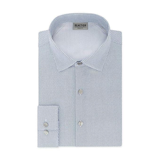 Kenneth Cole REACTION Mens Dress Shirts Slim Fit Stretch Diamond Print