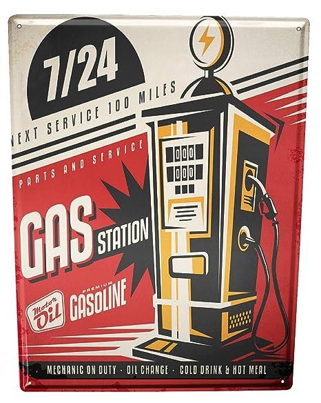 Cartel Letrero de Chapa De Coches Vintage gasolinera 24 ...
