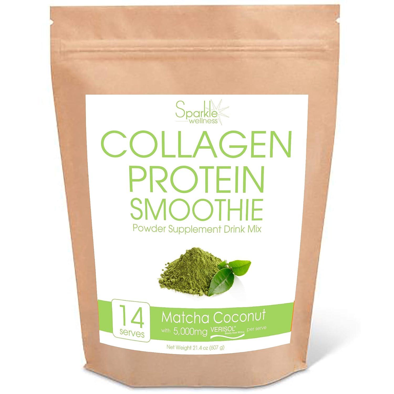 Sparkle Collagen Protein Smoothie Mix (Matcha Coconut) [14 serves] VERISOL Collagen Peptides, Buffered Vitamin C, Chia Powder, Coconut, Flax, Mango, Matcha Green Tea, Oats, Pineapple & Spirulina