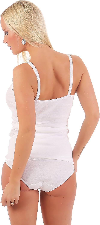 Celest/é Damen Unterhemd mit gro/ßer Spitze-100/% gek/ämmte Baumwolle-Trockner geeignet-Weiss Gr/ö/ßen 40 bis 54
