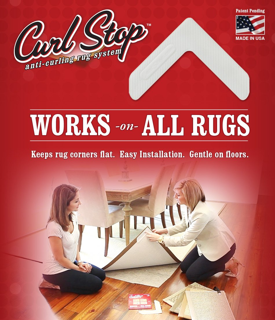 Curl Stop Anti-Curling Rug System (Pack of 4 Corners) Inc. COMINHKPR12972