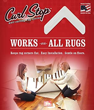 Amazon.com: Curl Stop Anti Curling Rug System (Pack Of 4 Corners): Kitchen  U0026 Dining