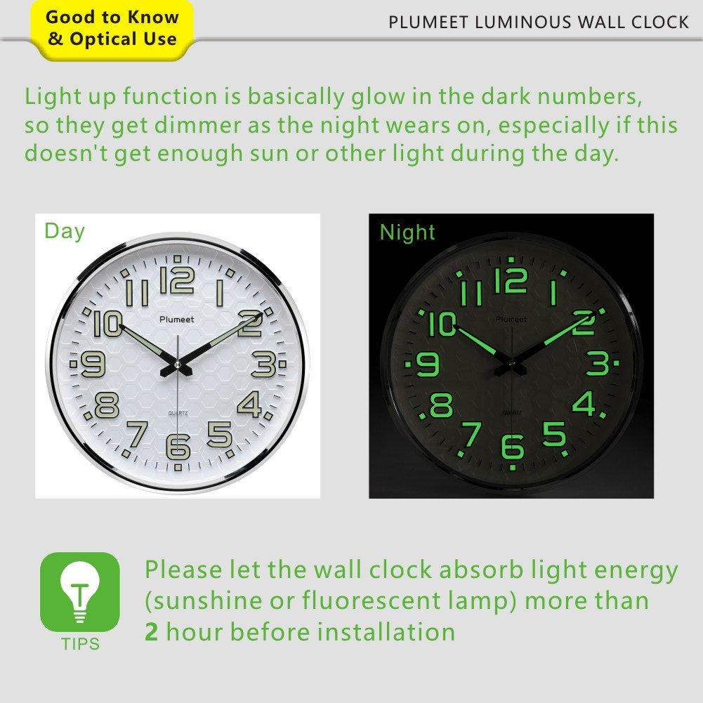 Amazon plumeet night light function 13 inch wall clock with amazon plumeet night light function 13 inch wall clock with silent non ticking night lights for indoor kitchen of large number battery operated aloadofball Images