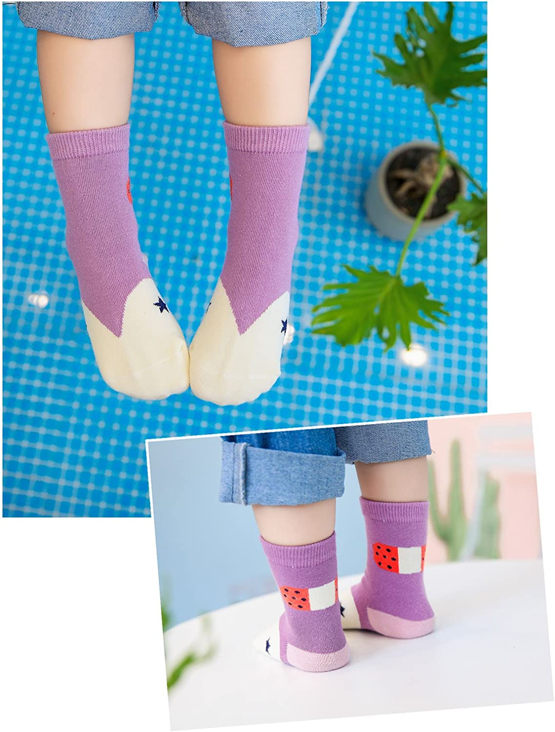 5 pairs 1-9 Years Toddler Girls Boys Socks Cotton Rich Cute Character Crew Socks for Kids