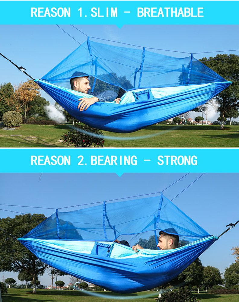 Camping Hammock with Net, Parachute Fabric Hammock Mosquito Net Portable Nylon Hammock for Backpacking Camping Travel, Double & Single Camping Hammocks Hold Up to 450lbs