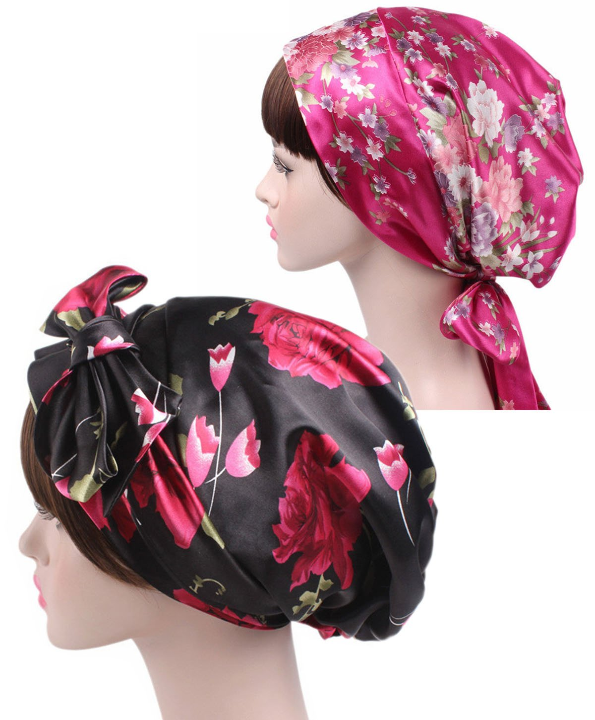 2 Packs Satin Silk Hair Bonnet - Floral Sleeping Cap for Women Patient Chemo Hat fits Long Curly Natural Hair.