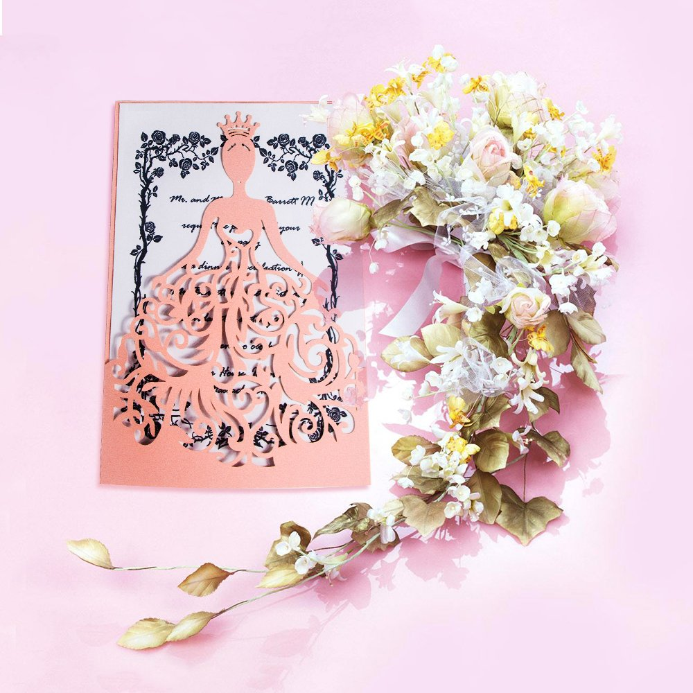 KAZIPA 25PCS Laser Cut Wedding Invitations with Envelopes, 4.7'' x 7'' Hollow Bride Invitations Cards for Bridal Shower Quinceanera Favor Engagement Bachelorette Party Blush Wedding Decorations, Pink