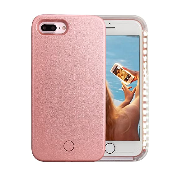 new product 25ff0 38b75 iPhone 7 Plus Case, iPhone 8 Plus Case, Wellerly LED Illuminated Selfie  Light Cell Phone Case Cover [Rechargeable] Light Up Luminous Selfie  Flashlight ...