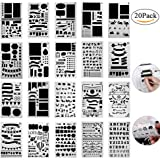 20 Pcs Bullet Journal Stencil Plastic Planner Set for Journal/Notebook/Diary/Scrapbook/Art Card Projects 1000 Different Pattern DIY Drawing Alphabet Number Template 4x7 Inch