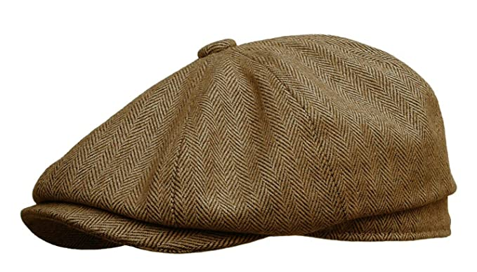 1e3b9c549be Rooster Herringbone Wool Tweed Newsboy Gatsby Ivy Cap Golf Cabbie Driving  Hat (Medium