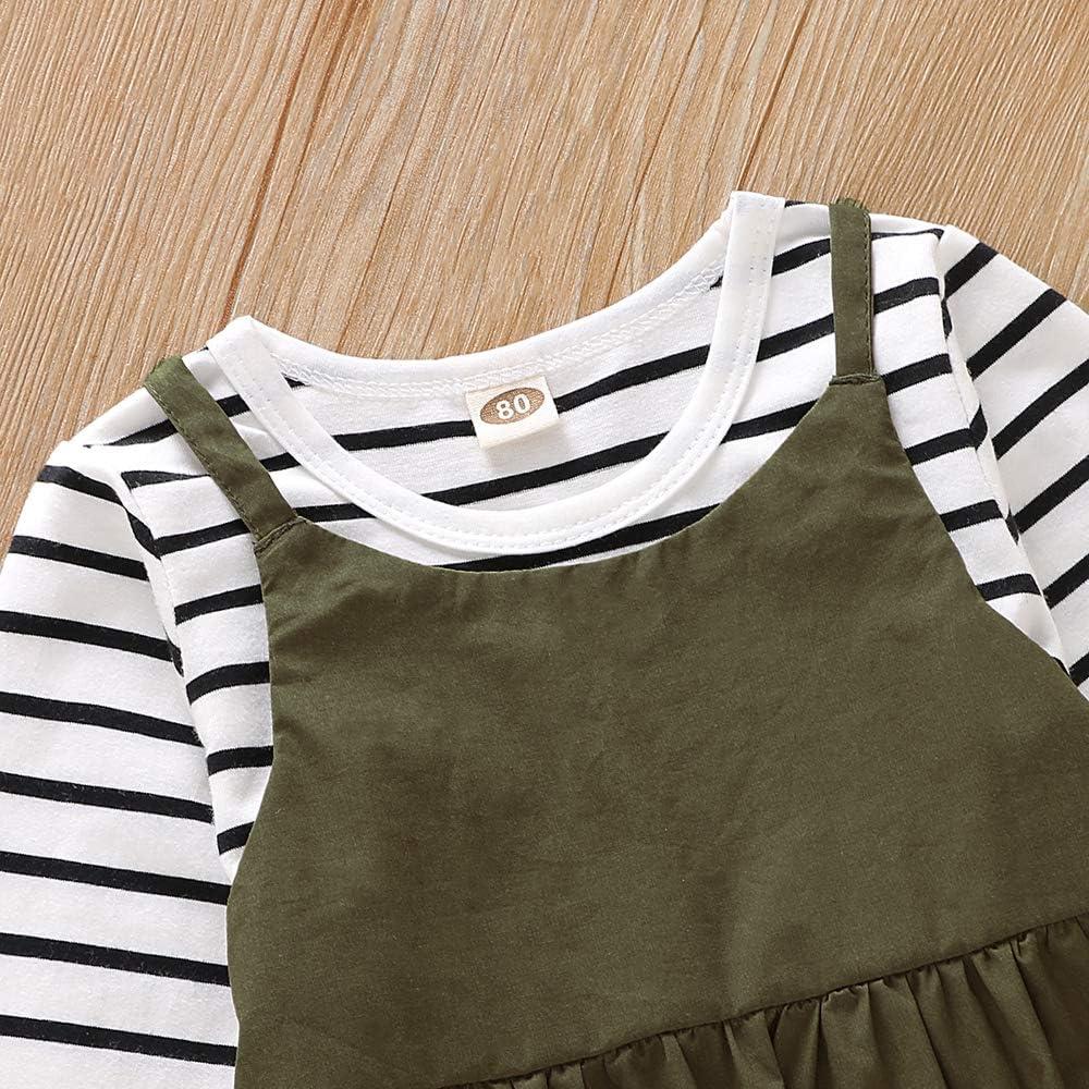 Completo Autunnale Tutina Larga Set di Vestiti da neonata a Righe a Maniche Lunghe Hertsen