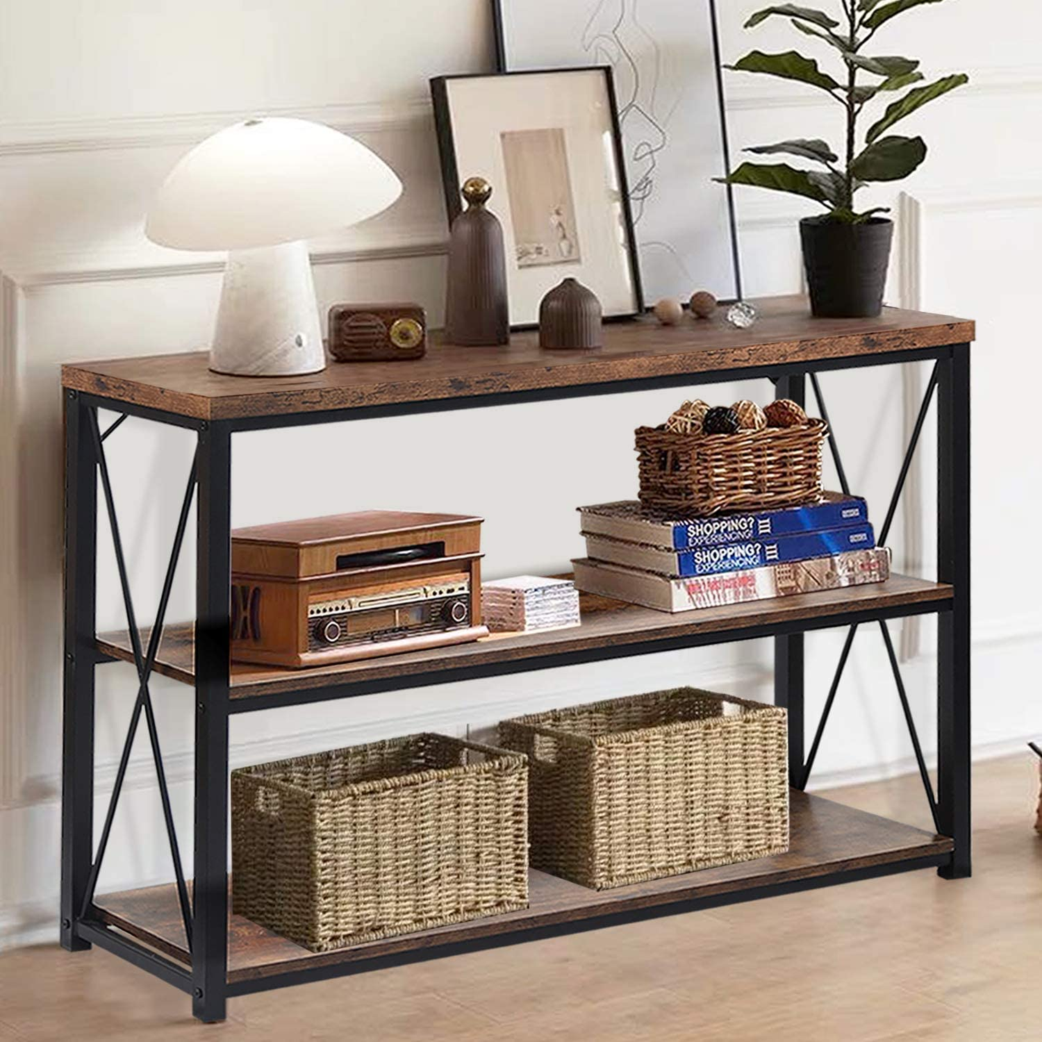 NSdirect Console Sofa Table, Rustic Console Table&TV Stand,Industrial 3-Tier Long Hallway/Entryway Table with Storage Open Bookshelf for Living Room Bedroom Entryway,Brown Oak