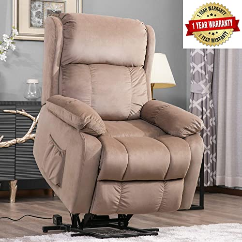 Harper Bright Designs Power Lift Chair Soft Fabric Upholstery Recliner Living Room Sofa Chair with Remote