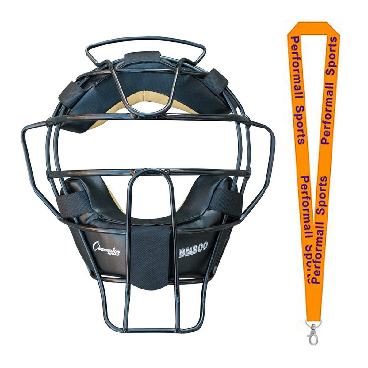 Champion Sports Ultra Lightweight Umpire Face Mask Black Bundle with 1 Performall Lanyard BM300BK-1P