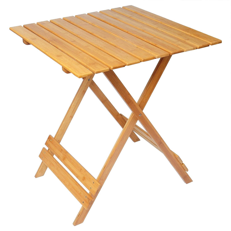 WOLTU BT06br Tavolino per Giardino Tavolo Pieghevole Campeggio da Caffe PC Tabelle di bamb/ù Fioriera Portatile Moderno 66x66x75 cm