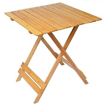 Woltu Table à manger Jardin Tish Table d\'appoint pliable en bambou ...