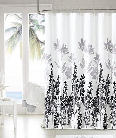 Jisen Shower Curtain Liner Beautiful Flower Pattern Design 3D Polyester Fabric Waterproof Bath Curtains with Hooks