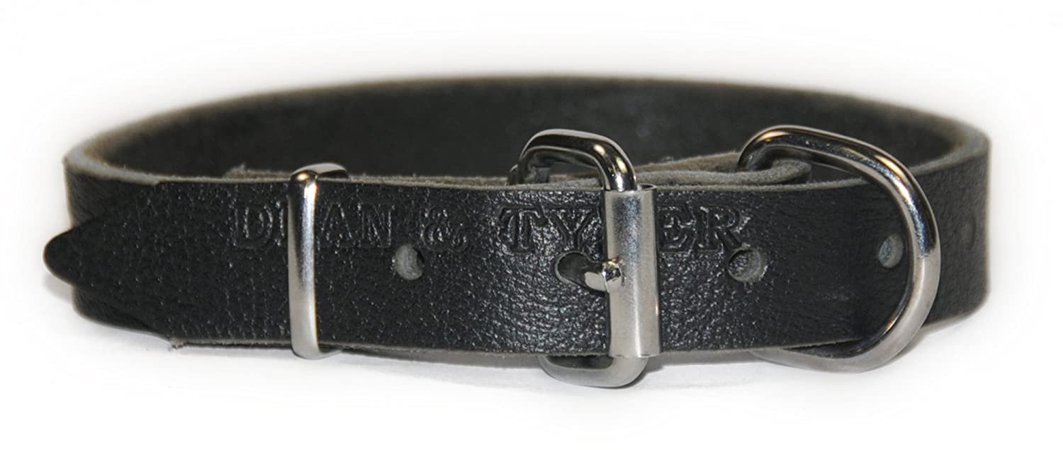 Dean and Tyler  B and B , Basic Leather Dog Collar with Strong Nickel Hardware Black Size 24 by 1-Inch Fits Neck 22-Inch to 26-Inch