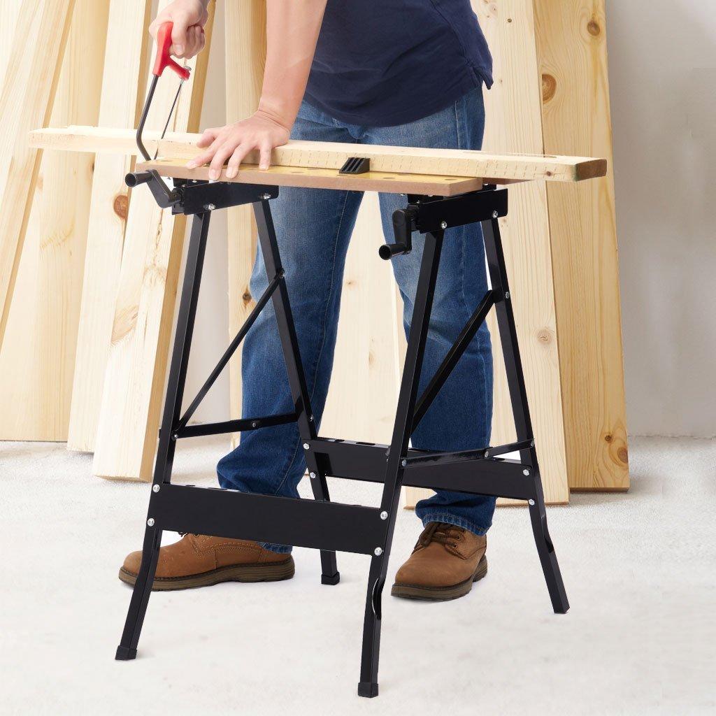 Portable Multipurpose Workbench Table Folding - Toolsempire Adjustable Work Table Sawhorse Vise Heavy Duty Stainless Steel Legs Lightweight Repair Tools For Workshop Light Work by Toolsempire (Image #7)